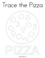 Trace the Pizza Coloring Page