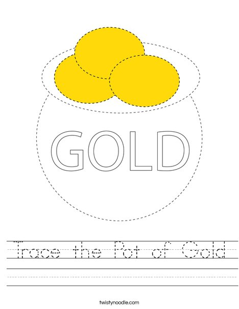 Trace the Pot of Gold Worksheet