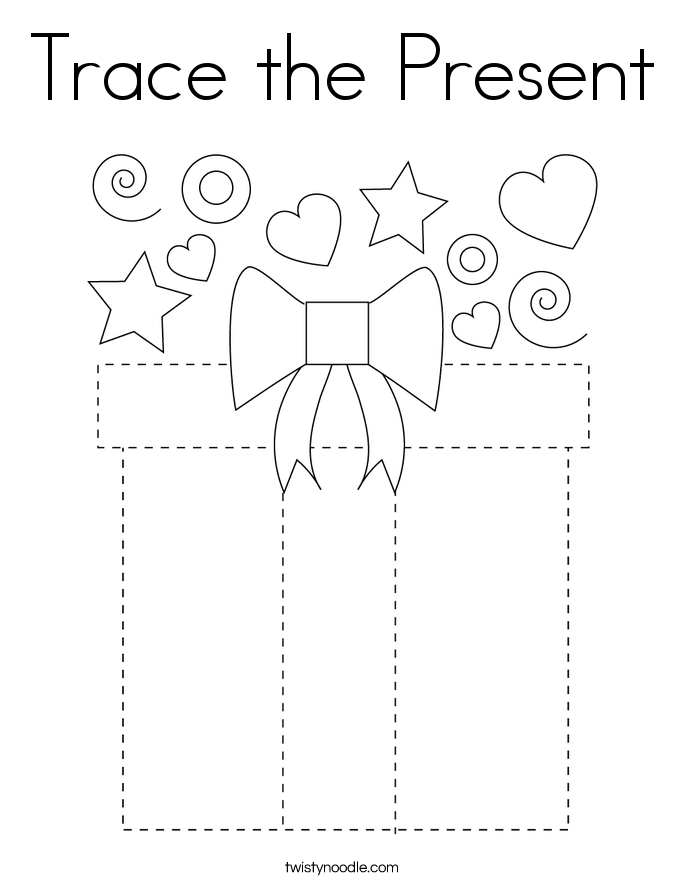Trace the Present Coloring Page