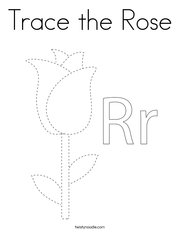 Trace the Rose Coloring Page