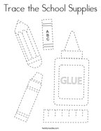 Trace the School Supplies Coloring Page