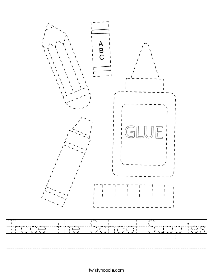 Trace the School Supplies Worksheet