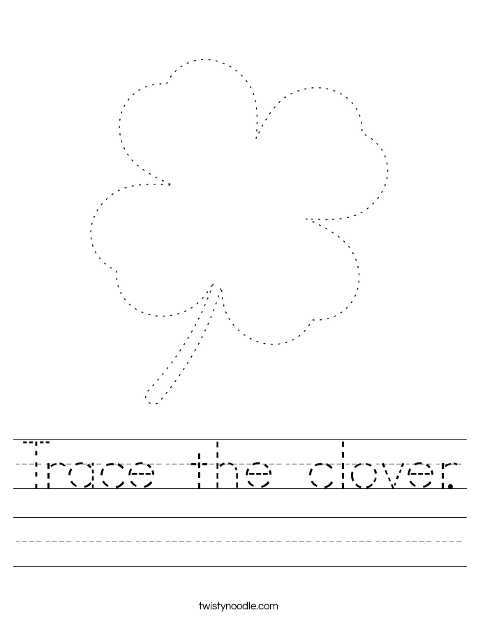 Trace the clover. Worksheet