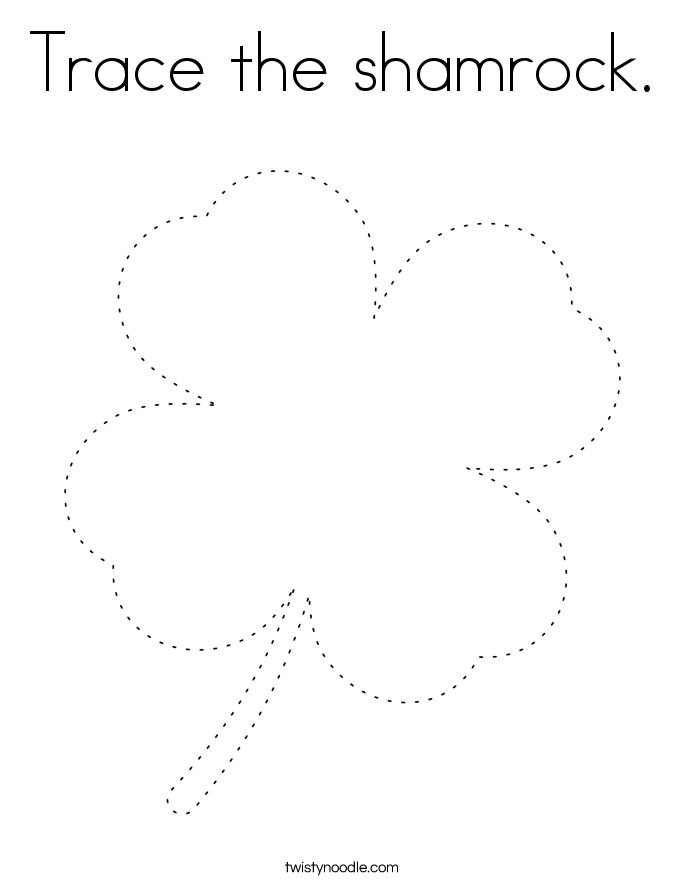Trace the shamrock. Coloring Page