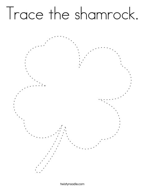 Trace the shamrock Coloring Page - Twisty Noodle