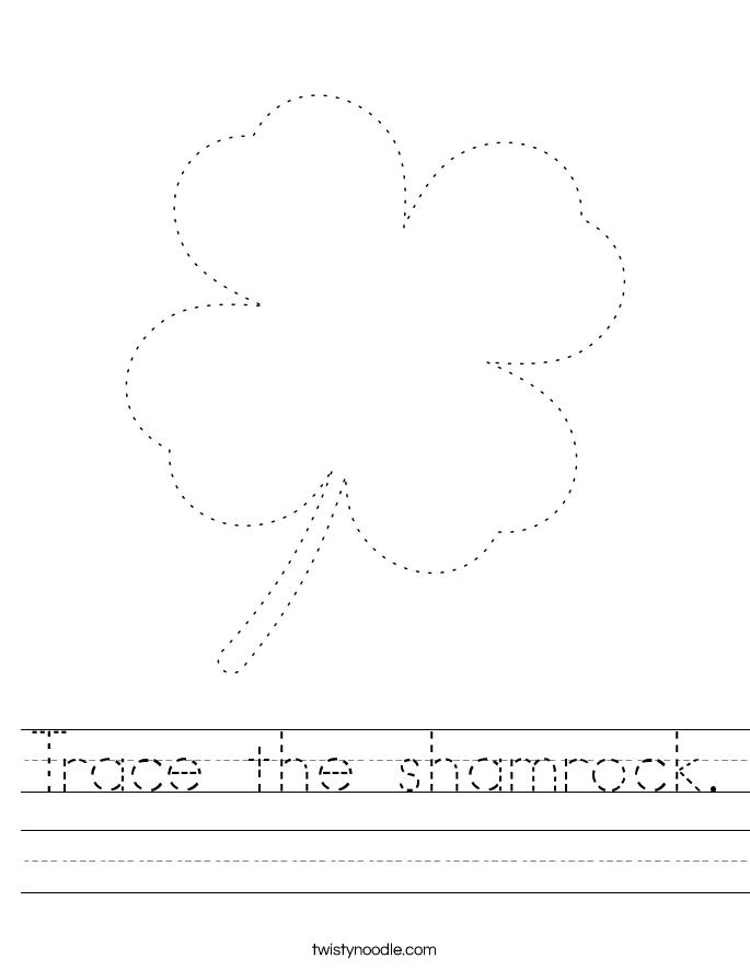 Trace the shamrock. Worksheet
