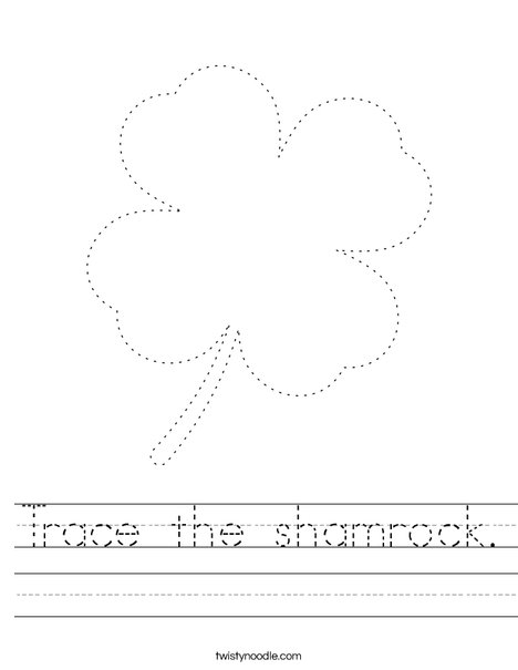 Trace the shamrock. Worksheet