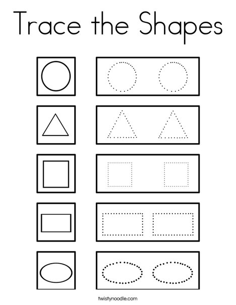Trace the Shapes Coloring Page