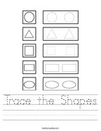 Trace the Shapes Handwriting Sheet