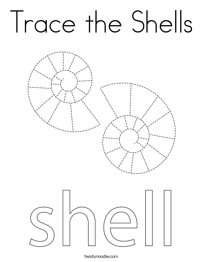 Trace the Shells Coloring Page