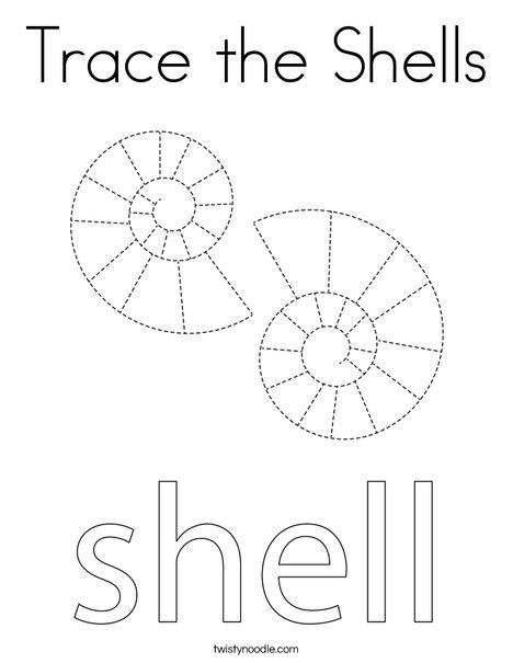 Trace the shells. Coloring Page