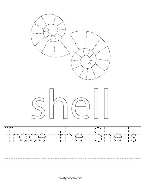 Trace the shells. Worksheet
