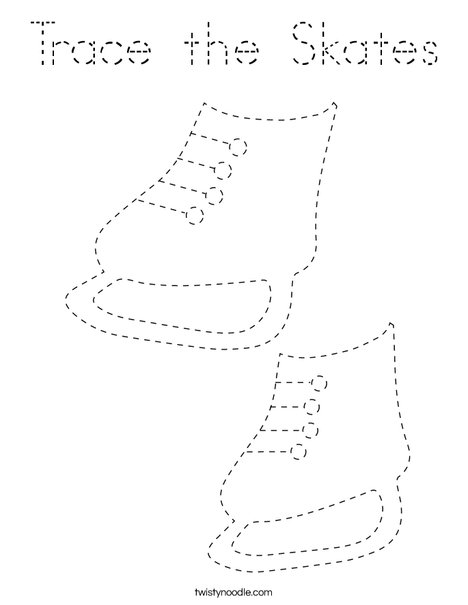 Trace the Skates Coloring Page