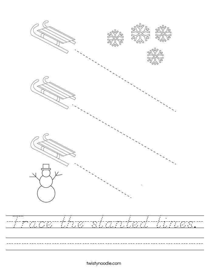 Trace the slanted lines. Worksheet