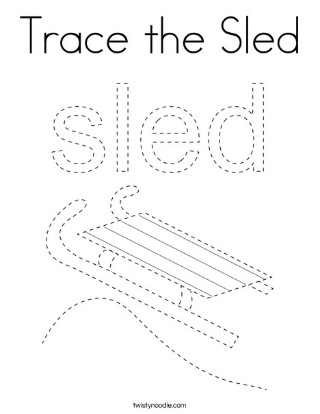Trace the Sled Coloring Page