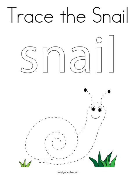 Trace the Snail Coloring Page