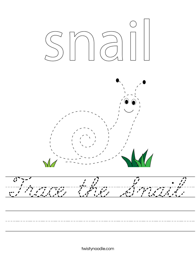 Trace the Snail Worksheet