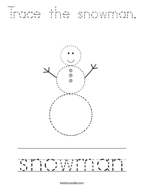 Trace the Snowman Coloring Page