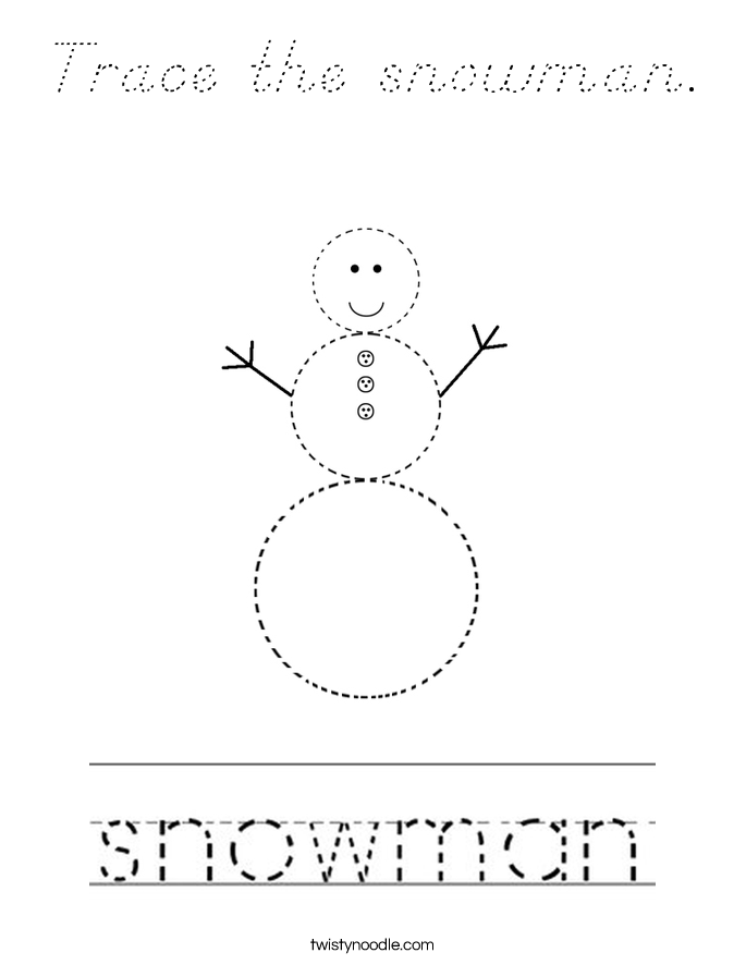 Trace the snowman. Coloring Page