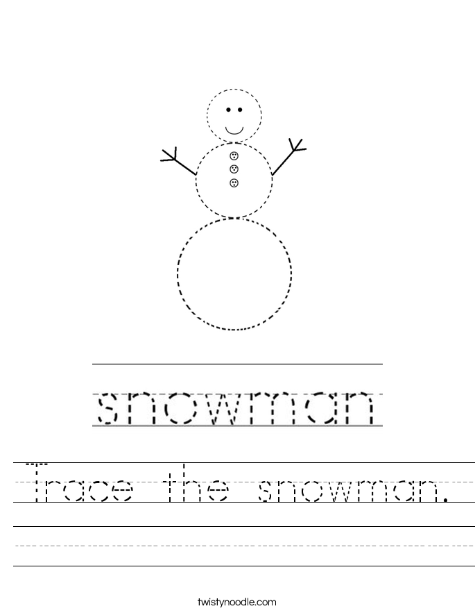 Trace the snowman. Worksheet