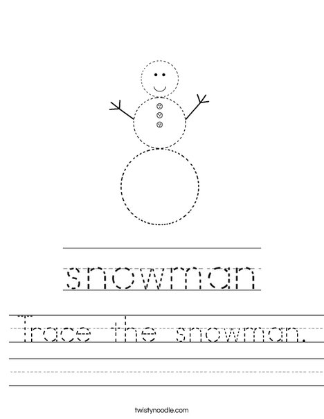 Trace the Snowman Worksheet