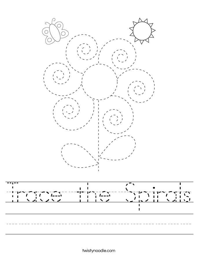 Trace the Spirals Worksheet
