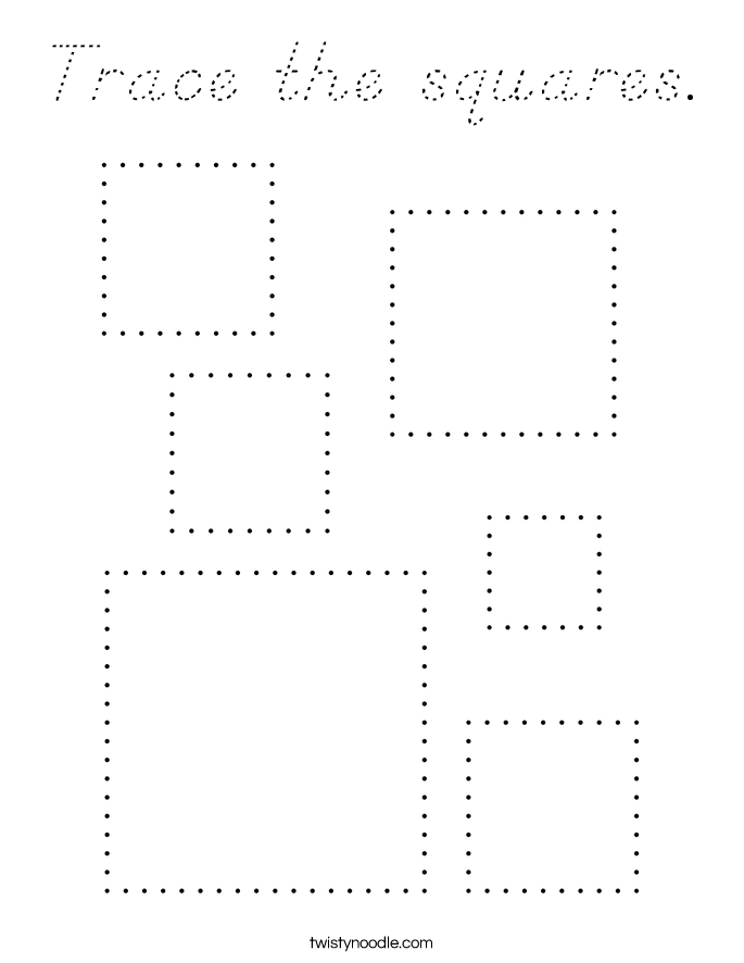 Trace the squares. Coloring Page