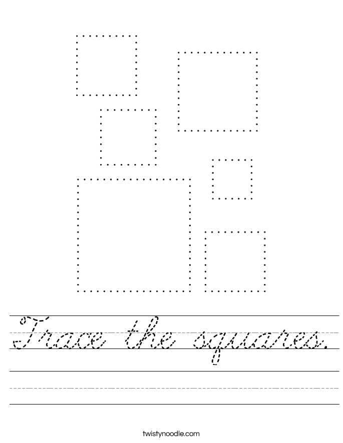 Trace the squares. Worksheet