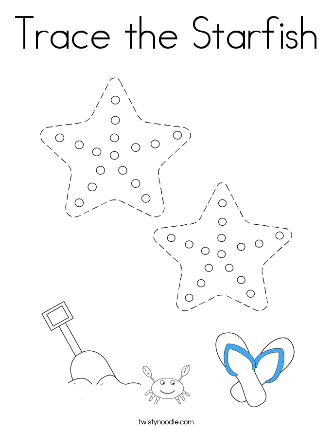 Trace the Starfish Coloring Page