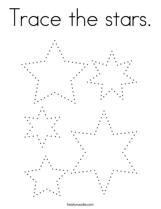 Trace the stars. Coloring Page