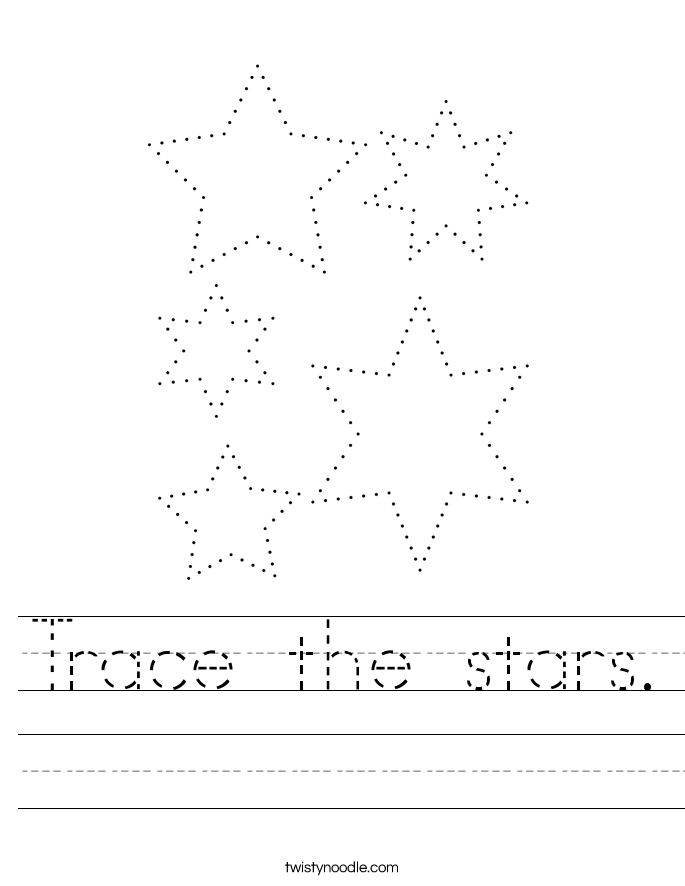 Trace the stars. Worksheet
