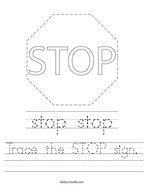 Trace the STOP sign Handwriting Sheet