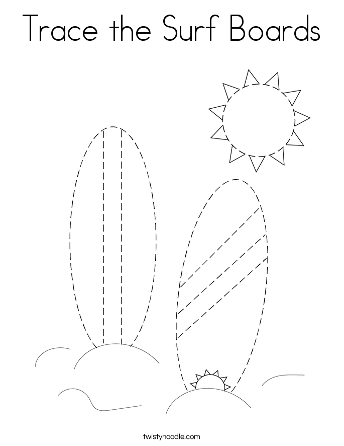 Trace the Surf Boards Coloring Page