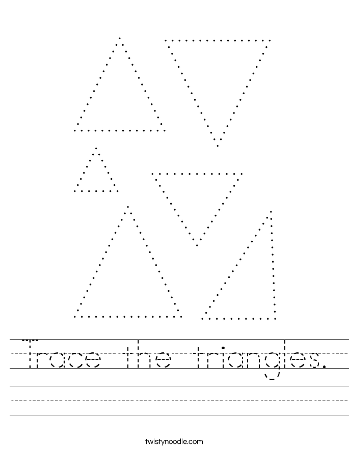 Trace the triangles. Worksheet