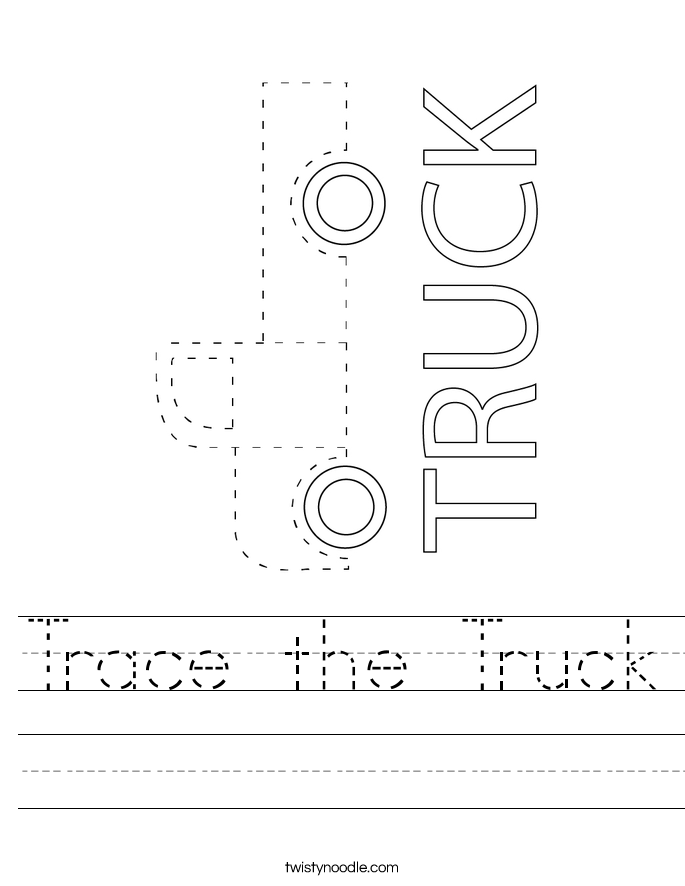 Trace the Truck Worksheet