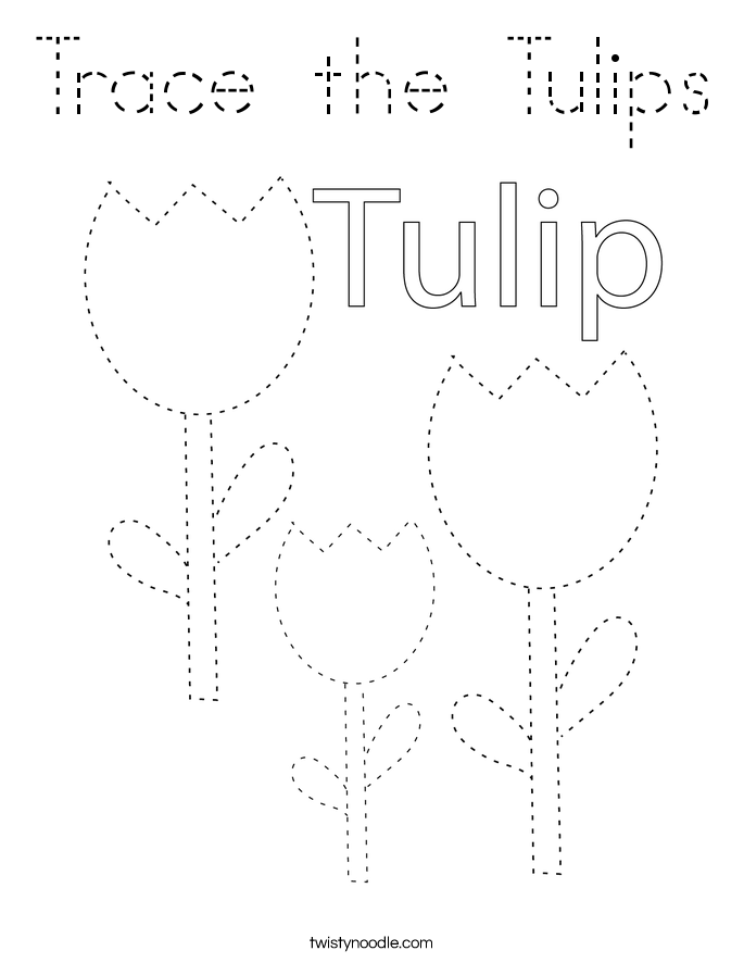 Trace the Tulips Coloring Page