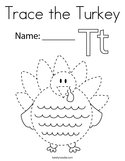Trace the Turkey Coloring Page