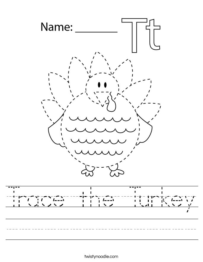 Trace the Turkey Worksheet - Twisty Noodle