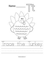 Trace the Turkey Handwriting Sheet