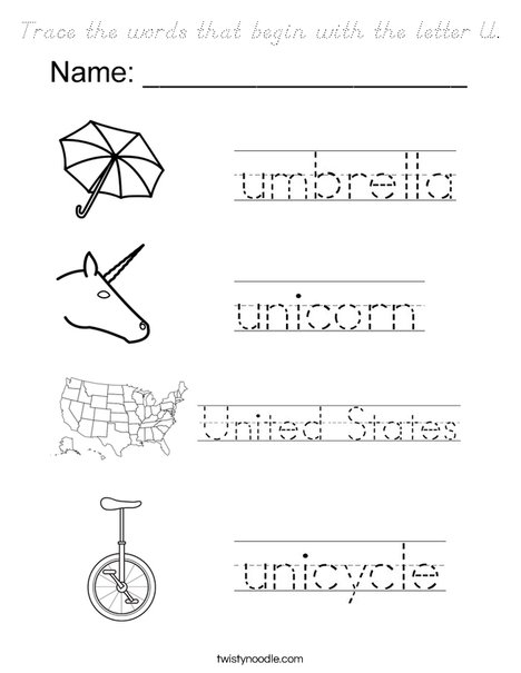 words with the letter q trace the words that begin with the letter u coloring page 10925