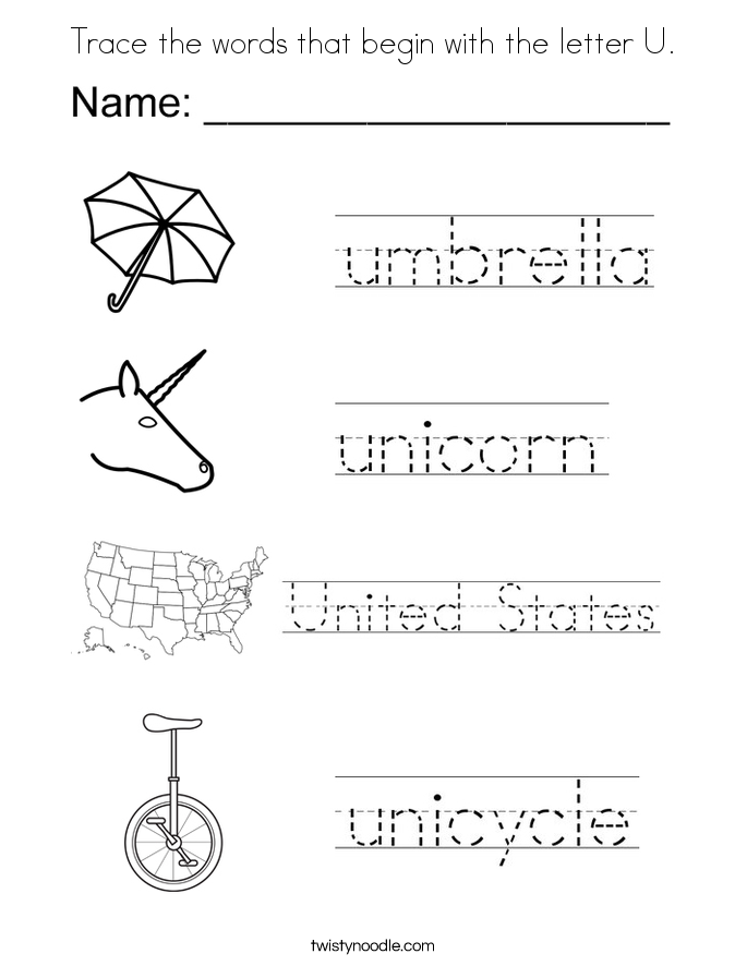 Trace the words that begin with the letter U. Coloring Page