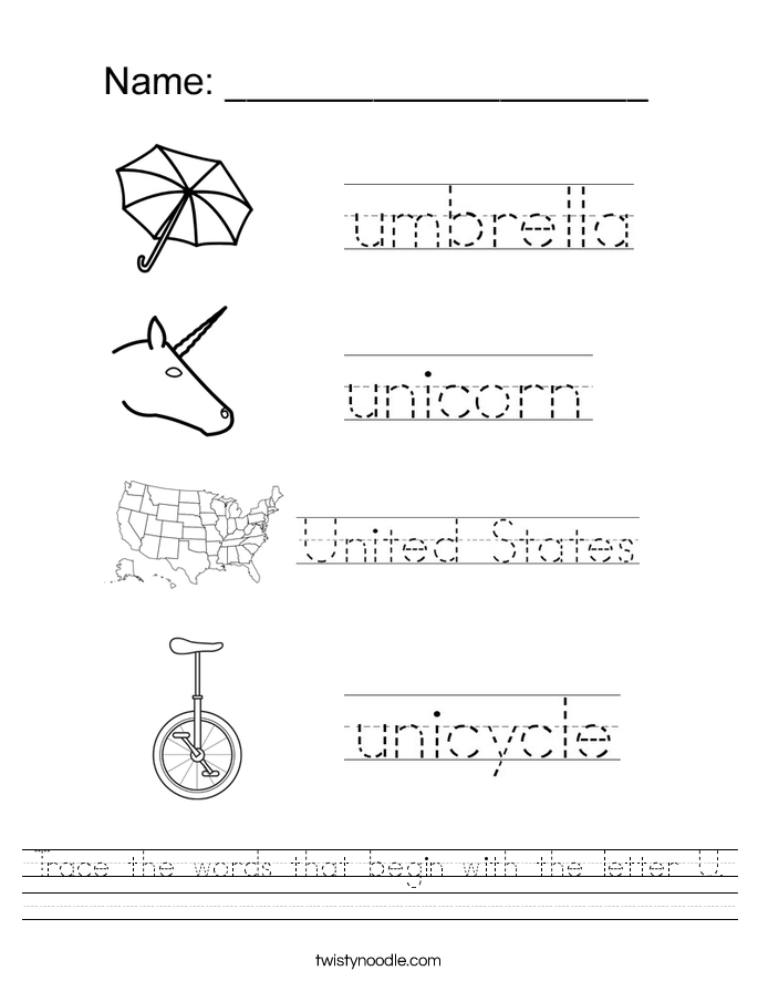 Trace the words that begin with the letter U. Worksheet
