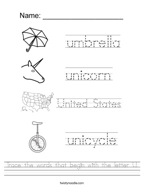 Trace the U Words Worksheet