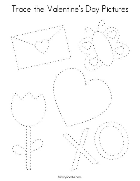 Trace the Valentine's Day Pictures Coloring Page