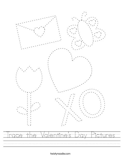 Trace the Valentine's Day Pictures Worksheet