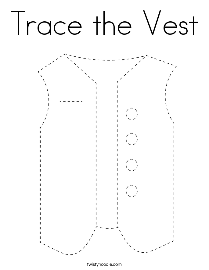 Trace the Vest Coloring Page