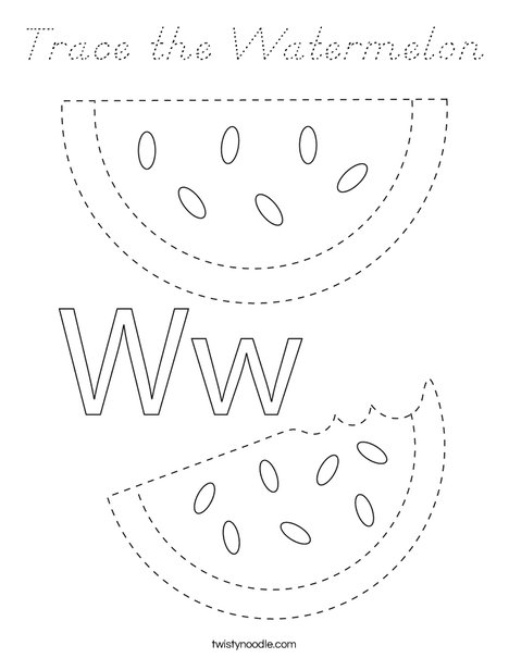 Trace the Watermelon Coloring Page