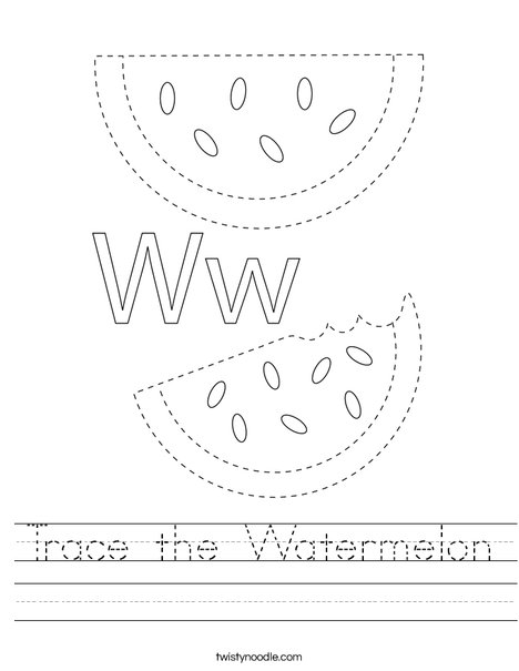 Trace the Watermelon Worksheet