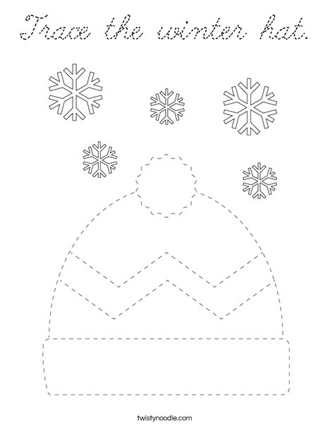 Trace the winter hat. Coloring Page