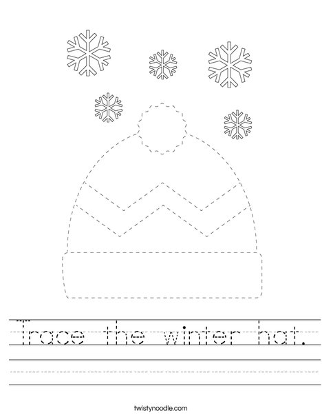 Trace the winter hat. Worksheet